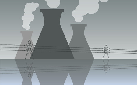 cooling tower: Nuclear power plant cooling towers, vector industrial landscape