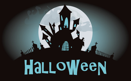 Halloween background, vector illustration with scary castle Vector