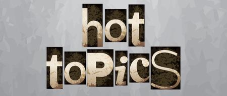 témata: Vector horká témata pojmu, retro vinobraní knihtisk typu