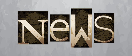 Vector news concept, retro vintage letterpress type Vettoriali