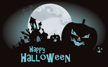 Halloween background, vector illustration with pumpkins and castle Vector