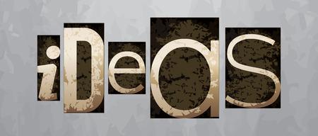 Vector ideas concept, retro vintage letterpress type Vettoriali