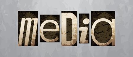 Vector media concept, retro vintage letterpress type Vector