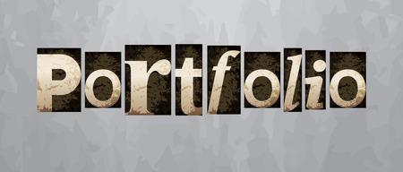 Vector portfolio concept, retro vintage letterpress type