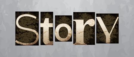 Vector story concept, retro vintage letterpress type Vettoriali