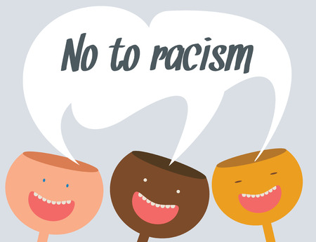 unification: No to racism, conceptual illustration Illustration