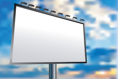 bill board: Blank vector billboard for advertisement, empty screen against sky