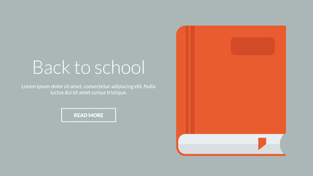 online advertising: Back to school with book. Vector concept for online advertising Illustration