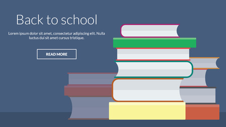 online advertising: Back to school with many books. Vector concept for online advertising