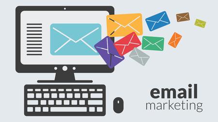 Equipo de negocios con la comercialización del email. Concepto del vector para la publicidad online