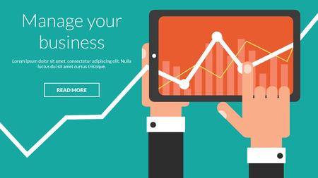 Tablet PC de negocios con la carta común como una aplicación. Concepto de vector para la publicidad en línea