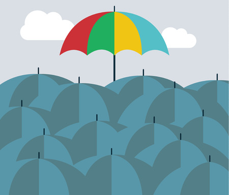 Concept of leader, different umbrella over many others Vector