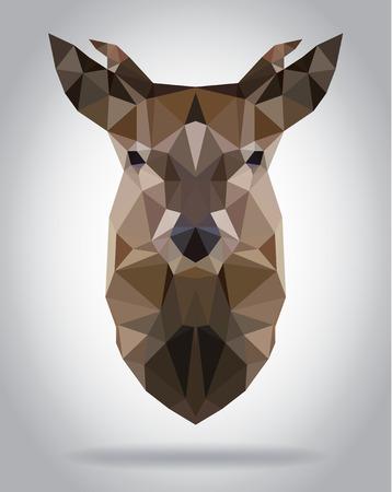 damhirsch: Hirsch Kopf Vektor isoliert, geometrische moderne Illustration Illustration