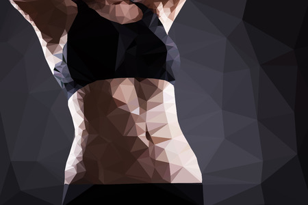Fitness woman belly vector, geometric modern illustration Vector