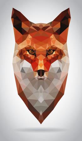 フォックス ヘッド ベクトル分離、幾何学的なモダンなイラスト