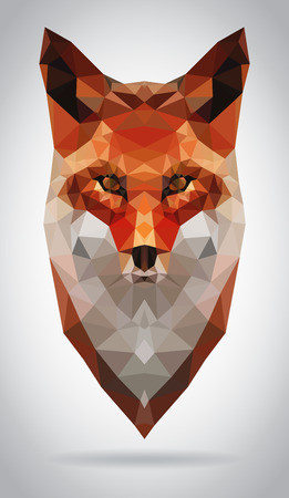 Fox vector de cabeza aislado, ilustración geométrica moderna Vectores