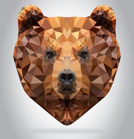 triangles: Grizzly Bear head vector isolated, geometric modern illustration Illustration