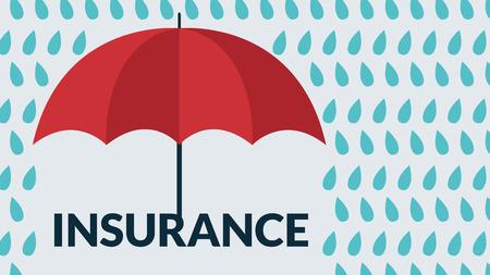 保険の概念。雨の滴の下でベクトル傘