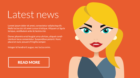 newsflash: Latest news with business woman presenting information. Vector concept for online advertising