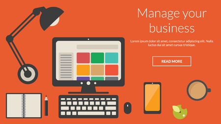 online advertising: Manager desk with business items. Vector concept for online advertising