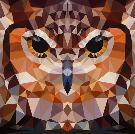 Owl head vector background, geometric modern illustration Illustration