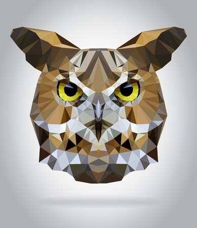 Búho vector cabeza aislada, ilustración geométrica moderna Vectores