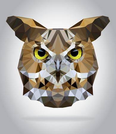 Uil hoofd vector geïsoleerd, geometrische moderne illustratie