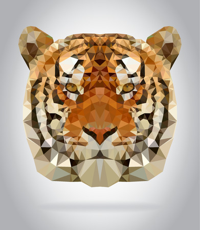 geometric design: Tiger head vector isolated, geometric modern illustration