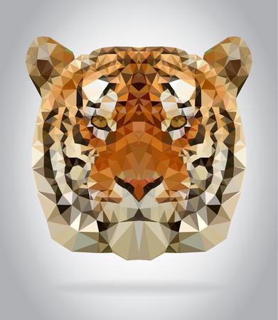 Tiger vector cabeza aislado, ilustración geométrica moderna Vectores