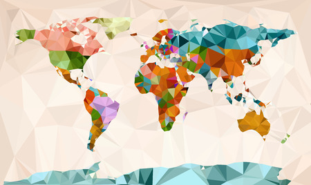 World map vector geometric design Çizim