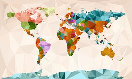 geometric shapes: World map vector geometric design Illustration