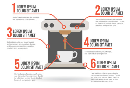 coffee maker: Cafetera ilustraci�n vectorial infograf�a