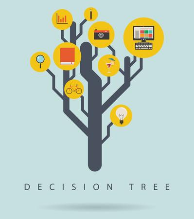 tree diagram: Albero decisionale schema infografica con le icone, illustrazione vettoriale Vettoriali