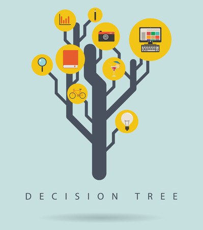 decision tree: Decision tree infographic diagram with icons, vector illustration