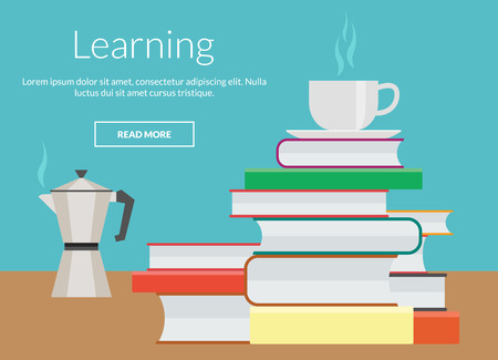 online advertising: Learning concept with coffee and books, vector elements design for online advertising
