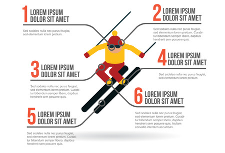 ski slope: Skier infographic layout vector illustration