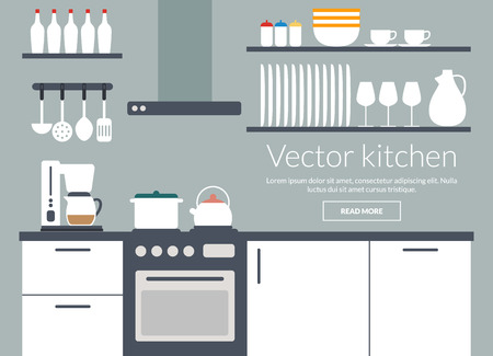 Kitchen interior vector illustriation card with icons Vector