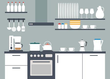 Kitchen interior vector illustriation with icons Vector