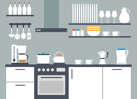 Kitchen interior vector illustriation with icons Vector