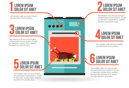 Kitchen oven with roast chicken infographic vector illustration Vector