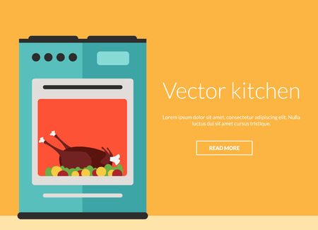 home appliances: Kitchen oven with roast chicken vector illustration card