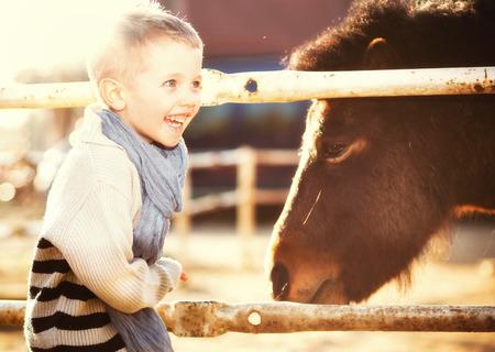 animales del zoologico: Ni�o con pony sonriente en el mini zoo