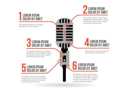 microfono antiguo: Viejo icono del micr�fono, vector de infograf�a Vectores