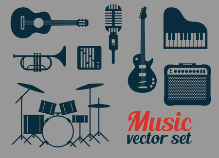Rock music instruments icons set, vector illustration