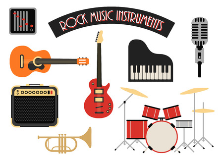 Strumenti musicali rock icons set, illustrazione vettoriale Archivio Fotografico - 33729380