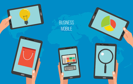 mobile apps: Business mobile apps on tablets or smartphones, vector illustration concept Illustration