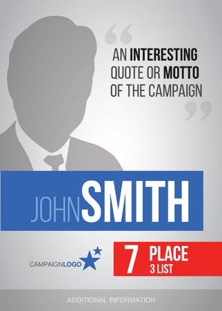 Élections présidentielles ou parlementaires modèle d'affiche, vecteur d'affichage pour la campagne Illustration