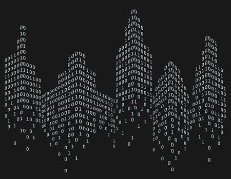communications tower: Binary code in form of futuristic city skyline, vector illustration Stock Photo