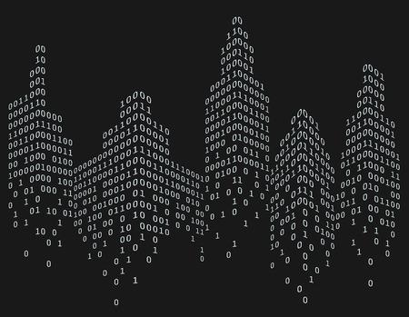 intelligent: Binary code in form of futuristic city skyline, vector illustration Stock Photo
