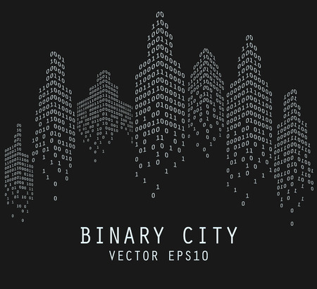 Binary code in form of futuristic city skyline, vector illustration Stok Fotoğraf